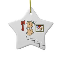 Stick Figure Kids Waiting for Santa Ornament by christmasshop   Click on photo to purchase. Check out all current coupon offers and save! http://www.zazzle.com/coupons?rf=238785193994622463&tc=pin