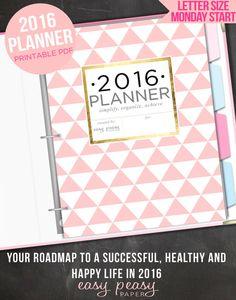 2016 Planner 2016 Organizer - Letter Size Printable Planner