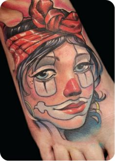 Clown lady head by Victor Chil love the tattoo but not the placement lol