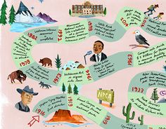 illustrated and hand lettered timeline for National parks Conservation Association for the park's service Centennial in Conservation, New Work, Childrens Books, National Parks, Behance, Map, Gallery, Illustration, Check