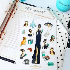 Breakfast at Tiffany's planner stickers,Holly Golightly vinyl sticker sheet,Audrey Hepburn stickers,sticker set,bujo stickers,Audrey sticker by JosefinaFernandez on Etsy #breakfastattiffanys #hollygolightly #plannerstickers