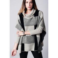 Gray Oversized High Neck Rib Sweater
