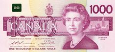 The Thousand Dollar Bill. 1954 devil's face, Dominion of Canada bank note, Bank of Canada bank note, Canadian currency, Bird Series one thousand dollars. Thousand Dollar Bill, Thousand Dollars, Canadian Coins, Legal Tender, Wealth, Freedom, Golden Ticket, British Monarchy, Money