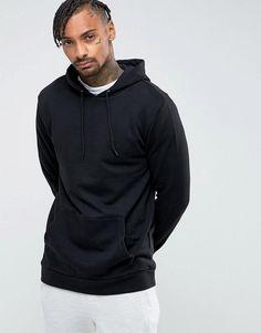 ASOS Longline Hoodie In Black - Black