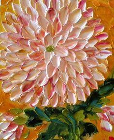 Flowers, orange, palette knife, oil painting, creative