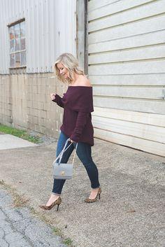 Burgundy Off The Shoulder Sweater - Afternoon Espresso Fashion Blog