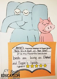 Adorable Elephant and Piggie craft and writing to go with the series. Your students will love this activity.