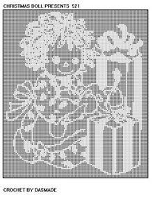 521 Christmas Doll Filet Crochet Doily Afghan Pattern