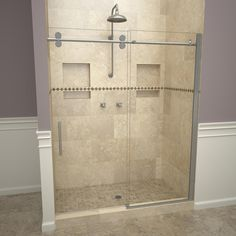 Redi Slide H x to W Semi-Frameless Bypass/Sliding Polished Chrome Shower Door at Lowe's. Redi Slide 3000 value series Semi-Frameless glass shower doors with double sliding doors. Another innovative product by Tile Redi. Frameless Sliding Shower Doors, Double Sliding Doors, Glass Shower Doors, Bathtub Doors, Glass Door, Tile Redi, Douche Design, Glass Shower Enclosures, Small Bathroom