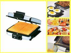 Waffle Maker Indoor Grill Griddle Silver 3-in-1 Nonstick Removable Plates Light #BlackDecker