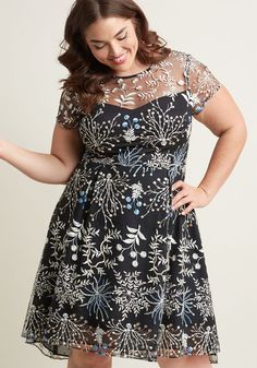 Adrianna Papell Enchanting Embroidery A-Line Dress
