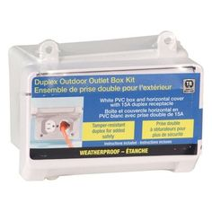 REDDOT Outdoor PVC Weatherproof Box Kit with Duplex Receptacle and Horizontal Mount Cover