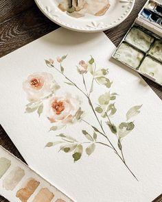 Watercolour Flowers, Watercolor Ideas, Floral Watercolor, Watercolor Paintings, Botanical Illustration, Botanical Art, Paint Photography, Watercolor Lettering, Aesthetic Painting