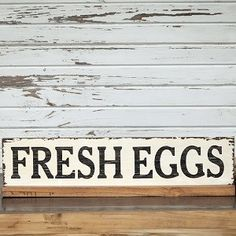 This beautiful Fresh Eggs Wood Sign takes us back to when produce was grown and sold locally. Visit Antique Farmhouse to see all our wood signs! Farmhouse Style Decorating, Farmhouse Decor, Farmhouse Signs, Farmhouse Ideas, Southern Style Decor, Eggs For Sale, Farm Signs, Antique Farmhouse, Kitchen Signs