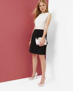 Color block pleated dress - Black | Dresses | Ted Baker