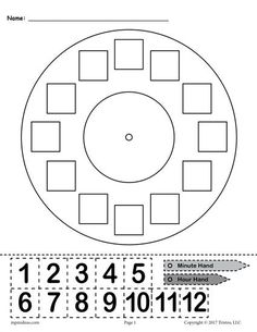"""Printable """"Build a Clock"""" Telling Time Activity! This free telling time worksheet is great for kindergartners, graders, and graders. The printable worksheet includes a clock face, an hour and minute hand, and hours that can be cut out. Clock Worksheets, Preschool Worksheets, Kindergarten Activities, Free Preschool, Free Printable Worksheets, Activities For 1st Graders, Grade 1 Worksheets, Matching Worksheets, Money Worksheets"""