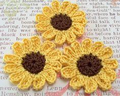 Crocheted Sunflower Appliques
