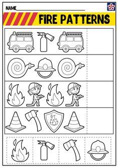 Free Firefighter Worksheets | TeachersMag.com Free Kindergarten Worksheets, Free Preschool, Worksheets For Kids, Preschool Activities, Community Helpers Lesson Plan, Community Helpers Worksheets, Preschool Classroom Setup, Firefighter Crafts, Community Workers
