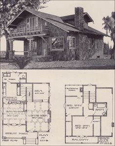 1912 Swiss Chalet Bungalow - LA Investment Co. this is my fave so far, complete with sleeping porch ; Cottage Style House Plans, Beach House Plans, Country House Plans, Small House Plans, House Floor Plans, Chalet Design, Chalet Style, Design Design, House Design