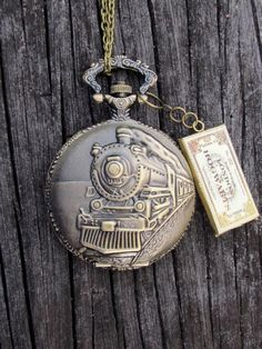 Don't miss the train, Harry Potter Hogwart's express inspired pocket watch locket necklace pendant jewelry Train on platform 9 3/4