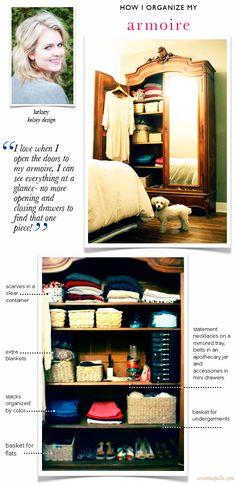 How Kelsey Organizes Her Armoire #organize #storage #smallspaces