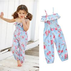 Girls' Clothing (Sizes 4 & Up) Kids Baby Girls Floral Strap Romper Jumpsuit Harem Pants Trousers Outfit Clothes Summer Romper, Printed Jumpsuit, Baby Outfits Newborn, Summer Girls, Baby Dress, Kids Outfits, Kids Fashion, Style Fashion, Rompers