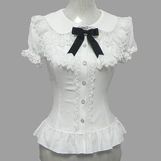 Blouse/Shirt Sweet Lolita Candy Princess Cosplay Lolita Dress White Lace Short Sleeve Lolita Blouse For Women Chiffon Style Lolita, Lolita Mode, Gothic Lolita Fashion, White Chiffon, Chiffon Dress, Chiffon Tops, Victorian Blouse, White Lace Shorts, Lolita Cosplay