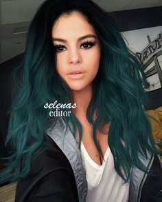 Black to dark teal hair Teal Hair Color, Hair Dye Colors, Teal Ombre Hair, Blue Green Hair, Teal Green, Dark Hair With Blue, Cool Hair Colours, Hair Color Ideas, Hair Goals Color