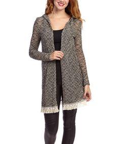 This Black & White Variegated Stripe Open Cardigan - Women by LTX Sportswear is perfect! #zulilyfinds