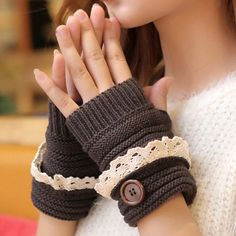 Pair of Chic Button and Lace Embellished Knitted Fingerless Gloves For Women