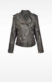Dark Brown Asymetrical Zip Leather Motorcycle Jacket - Forzieri