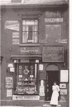 What a great shop look at all the advertising. How good would it be to look round in there. Victorian London, Victorian Design, Uk Photos, Great Photos, Birmingham City Centre, High Street Shops, Birmingham England, Old Street, Shop Fronts