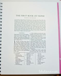 How to Start a Book of Mormon Journal with a free download link with wide margins. ldslane.net