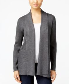 JM Collection Ribbed Open-Front Cardigan (44.99) Sale thru 9/10/16 rayon/poly charcoal heather, acorn heather, sapphire, black, eggshell, red szS 59.50