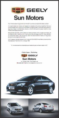 A Sun Motors estará inaugurando dia 1º de Abril a primeira concessionária Geely do Brasil. dld.bz/dmHVq