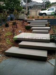 floating wood stairs outside - Google Search