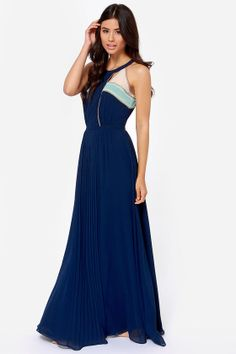 Moonlit Stroll Navy Blue Maxi Dress at LuLus.com!