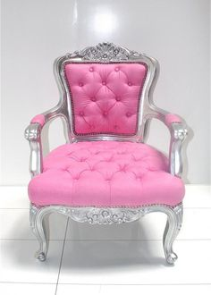 👑Woman Cave Ideas👑 🎀👡👗👢👛👚🎒👜👒🎀 Pink Throne - Pink Chair - Tune into Your Inner Goddess👑Woman Cave Ideas👑 🎀👡👗👢👛👚🎒👜👒🎀 Pink Furniture, Painted Furniture, Furniture Design, Bedroom Furniture, My New Room, My Room, Home Interior, Interior Design, Woman Cave