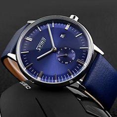 estilo de negócio segunda Dial banda de couro quartzo relógio de pulso dos homens (cores sortidas)
