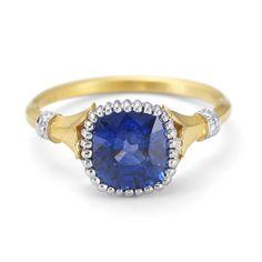 Blue Sapphire Flora Embrace Ring, 18Kt & Platium