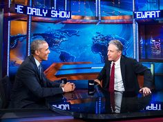 "President Obama Says ""Goodbye"" to Jon Stewart in Final Daily Show"
