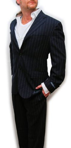 Polo Ralph Lauren Mens Virgin Wool Suit Navy Blue Stripe Italy $1995 40S « Clothing Impulse