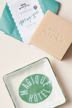 Hotel Magique for Anthropologie Savon Soap and Dish Set | Anthropologie Cocoa Butter, Shea Butter, Savon Soap, Dish Sets, Home Spa, Guest Bath, Rose Petals, Seed Oil, Bar Soap