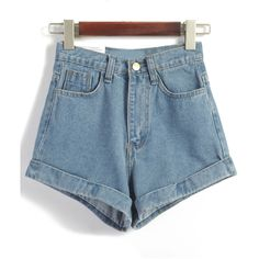 High Waist Loose Denim Blue Shorts (£11) ❤ liked on Polyvore featuring shorts, bottoms, short, blue, high-waisted shorts, high waisted short shorts, loose shorts, short denim shorts and high waisted denim shorts