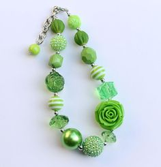 Green Rose Chunky Necklace for girls by AikoArt on Etsy
