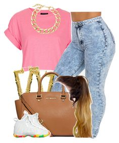 """""""."""" by newtrillvibes ❤ liked on Polyvore featuring Topshop, MICHAEL Michael Kors, NIKE, Fallon, women's clothing, women's fashion, women, female, woman and misses"""