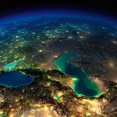 Terra vista do espaço                         Mares de Azov, Cáspio e Negro, Rússia