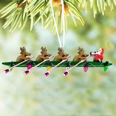 Crew Ornament - Rowing Reindeer and Santa Resin Christmas Ornament by ChalkTalkSPORTS