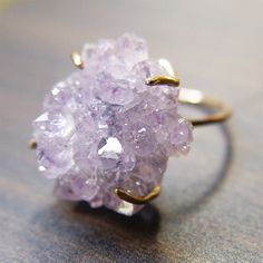 Amethyst Crystal Druzy Ring   OOAK by friedasophie on Etsy, $95.00