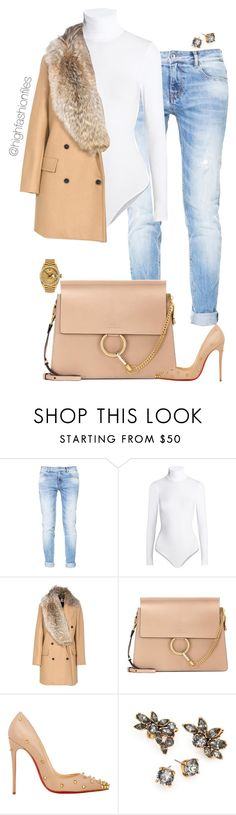 """""""Untitled #2690"""" by highfashionfiles ❤ liked on Polyvore featuring Zara, Wolford, MSGM, Chloé, Christian Louboutin, Oscar de la Renta and Rolex"""